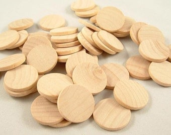50 Wood Circles, Wooden Discs - 1 inch x 1/8 inch Unfinished Wooden Disks for DIY