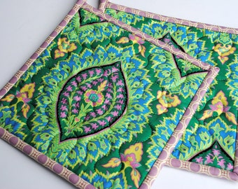 """Quilted Pot Holders, Amy Butler Potholders, Hotpads, Handmade Pot Holders, Shower gift, Hostess gift, 8 1/2"""" x 8 1/2"""" Set of Two Hotpads"""