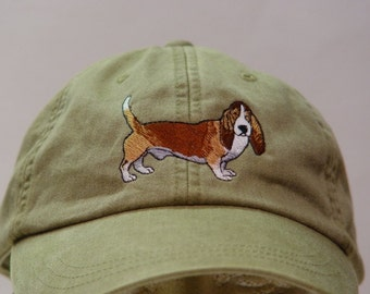 BASSET HOUND DOG Hat - One Embroidered Men Women Cap - Price Embroidery Apparel - 24 Color Caps Available