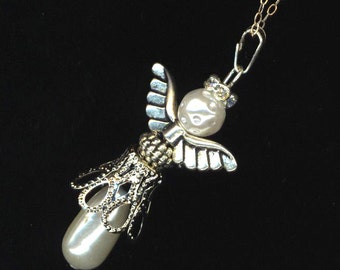 Silver Angel Pendant . Pearls, Rhinestones . Mother's Day . Communion Jewelry . Large Wings - Watching over You by enchantedbeads on Etsy