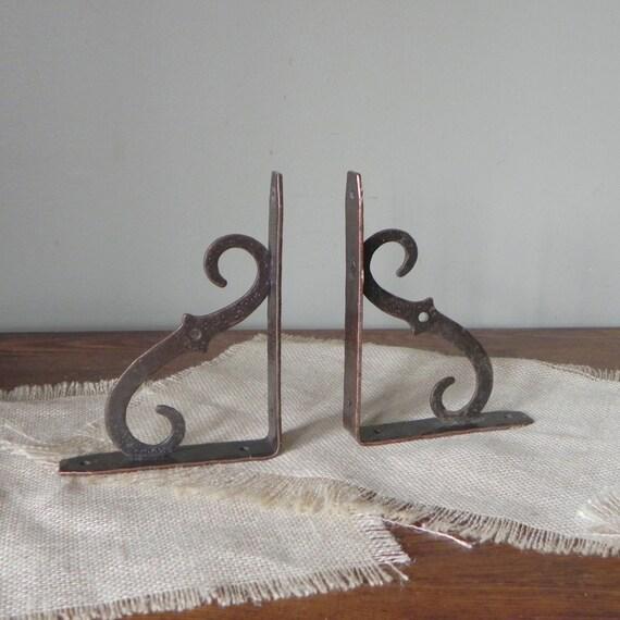 Vintage metal brackets rustic shelf