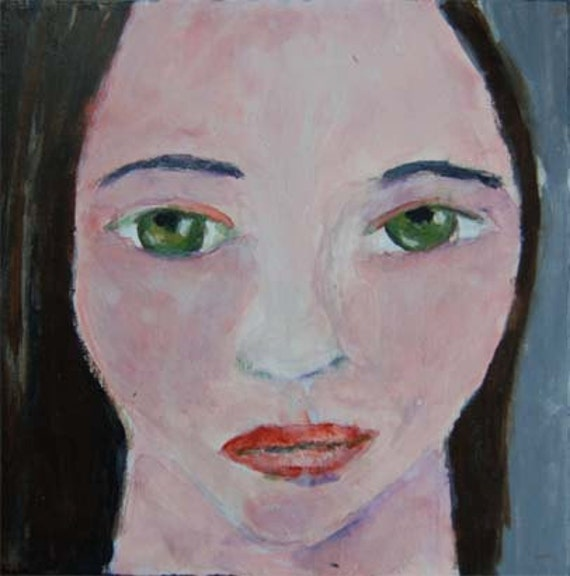 Acrylic Portrait Painting Soft Spoken Girl, Face, Black, Gray 6x6 canvas board