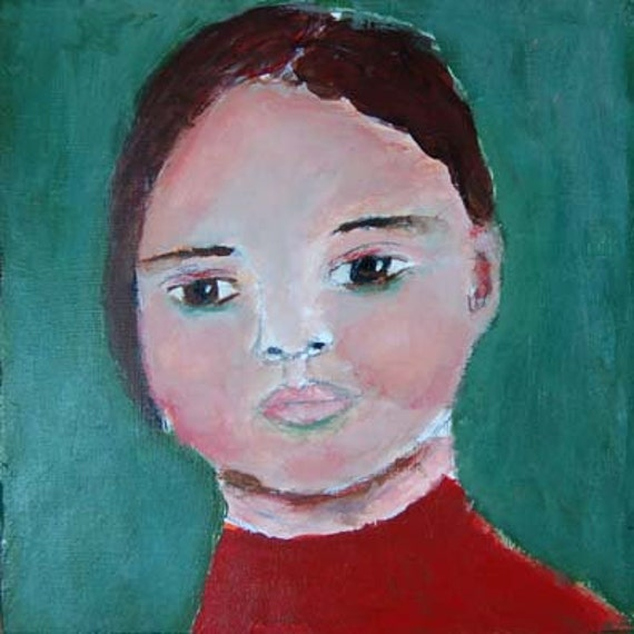 Acrylic Portrait Painting Monkey Mind Girl, Face, Green 6x6 canvas board