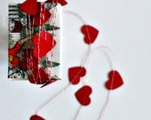 Tiny VALENTINE Hearts Stitched Paper Garland Red in a Matchbox Gift Under 10 Valentine - seen on Front Page Etsy