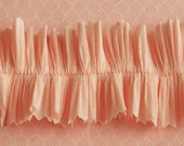 RUFFLE SALE 20% OFF Vintage Crepe Paper Ruffle Trim Ballet Pink - Party Wedding Decor - Pink Ruffled Crepe Paper Trim - Valentine Card Craft