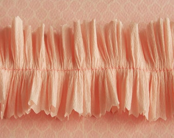 Vintage Crepe Paper Ruffle Trim Ballet Pink - Party Wedding Decor - Pink Ruffled Crepe Paper Trim - Valentine Card Craft Supplies - 32 inch
