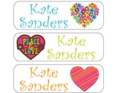 100 Hearts Waterproof Kid's Pacifier (or baby food) Labels - Dishwasher Safe - Great for sippy cups, bottles, lunch boxes, jars Paci-014