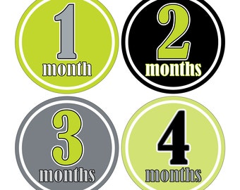 12 Monthly Baby Milestone Waterproof Glossy Stickers - Just Born - Newborn - Weekly stickers available - Design M003-01
