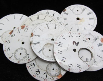 Distressed Shabby Chic  Watch Dials Steampunk Faces Enamel Porcelain BF 46