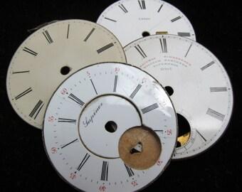 Vintage Antique Watch Dials Steampunk Faces Parts Enamel Porcelain Metal BF 92