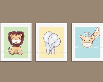 Elephant painting nursery art, lion baby boy nursery decor, giraffe nursery wall art, baby decor, safari decor, children decor set, 3 prints