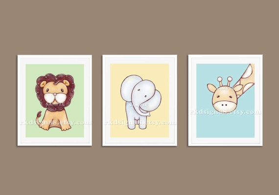 Elephant painting nursery art, lion baby boy nursery decor, giraffe nursery wall art, baby decor, safari decor, children decor set, 3 prints
