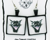 Earrings with a Screaming Black Cat Image