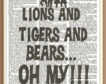 Lions and Tigers and Bears Oh My//WIZARD OF OZ///Vintage Dictionary Art Print---Fits 8x10 Mat or Frame