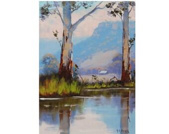 Ready To Hang australian landscape painting gum trees fine art by G.Gercken