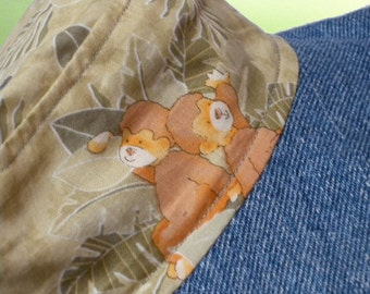 Reversible Cotton Sun Hat with Jungle Animals Size 12 Months