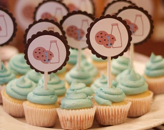 18 Milk and Cookies Cupcake Toppers for Cookies and Milk Themed Party