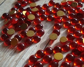 Tiny 4mm Siam Ruby/Red Gold foiled Flat Back Round Glass Cabochons (12 pieces)