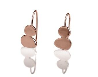Pebbles Rose Gold Earrings, stones design hanging earrings, drop shaped earrings, 14k Red Gold hanging earrings