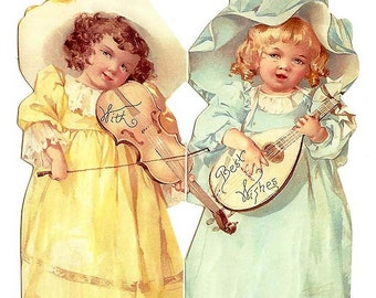 Vintage Easter Card Made In USA Victorian Girls With Violins CD 001