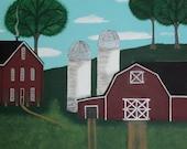 Original Folk Art Painting on Canvas in Acrylics Twin Silo Farm