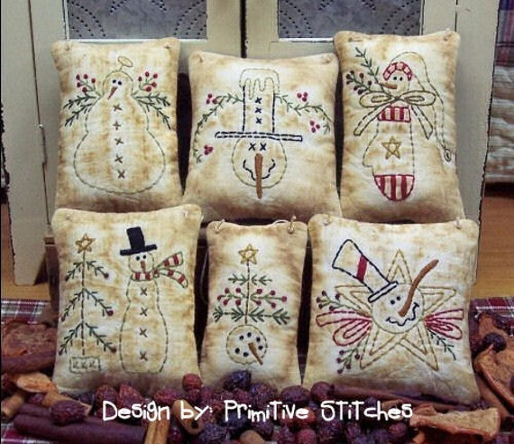 Snowman Mini Collection 1-Primitive Stitchery  E-PATTERN by Primitive Stitches-Instant Download