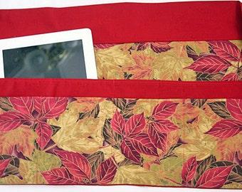 Waist Half Apron Vendor iPad Teacher Craft Art Autumn Fall Red Gold Leaves Fabric (6 Pockets)