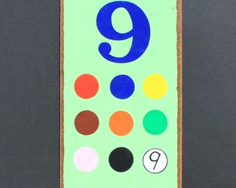 Vintage Number  9  Flashcard Wall Plaque in Mint Green with Coloured Dots