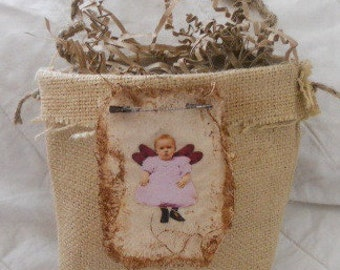 Medium Burlap Bag Lined with Muslin with A Fairy Attached