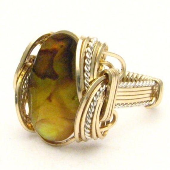Handmade Artisan Wire Wrap Yellow Paua Shell Two Tone Sterling Silver/14kt Gold Filled Ring