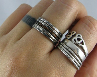 Rustic Silver and Copper Stacking Rings - Set of 4 Sterling and 1 Copper - MADE TO ORDER