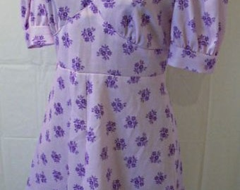 Vintage 70s Lilac Floral Mini Dress,S,XS,Groovy, Bohemian Chic