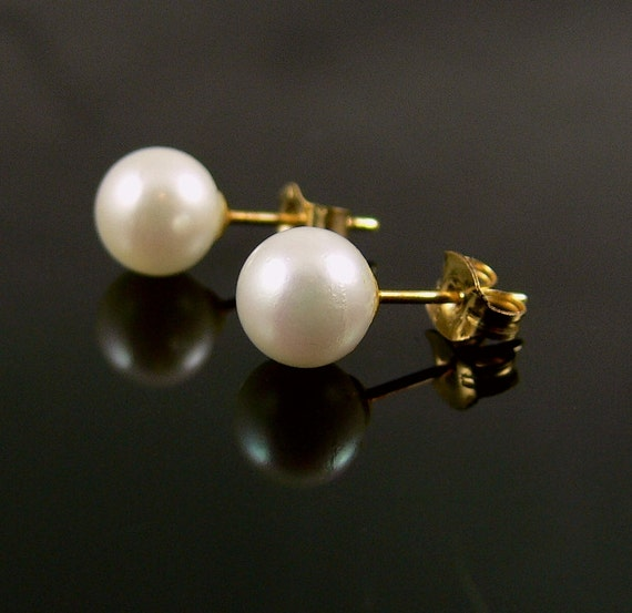 vintage 14k gold cultured pearl earrings by jujubee1 on etsy
