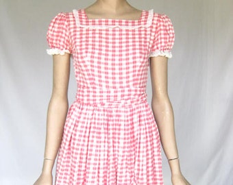 Vintage 50s Pink  and White Gingham   Dress