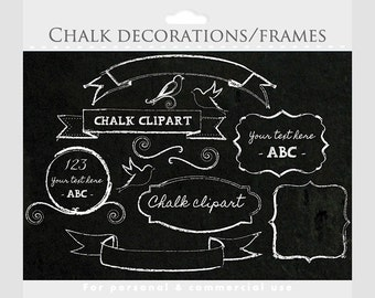Chalk clipart - frames, flourishes, decorative frames, birds, swirls, banners, for personal and commercial use for invitations scrapbooking