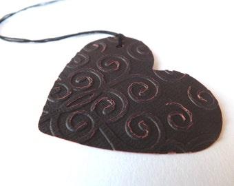 Embossed Hearts Tags // Set of 6 // black