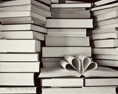 Two Heart Book Photograph Photo - love, couple, library, story, romantic, wedding, black and white - A Love Story II - 8 x 10 Fine Art Print