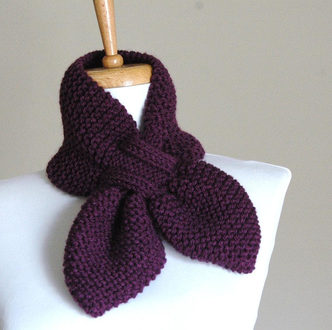 Purple Knit Scarf, Women Hand Knit Scarf, Pull Through Keyhole Scarf ...
