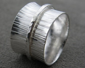 Silver Spinner Ring- Wide Ring - Silver Ring
