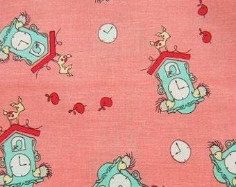 Half Yard Japanese Cotton Fabric Lecien Folk Tale Natalie Lymer Hedgehog Clock Cinderberry Stitches Pink