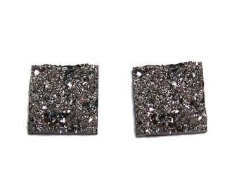 Square shaped Faux Druzy Hematite color Cabochons 2pcs
