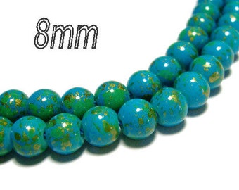 8mm Round Glass Beads Blue color with gold and green color splatters 30 beads