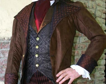 Chocolate Brown Tapestry Cloth  Steampunk Frock Cutaway Swallowtail Wedding Jacket
