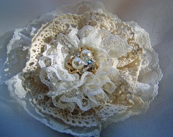 Vintage Couture Handmade lace Flower-Pin-Corsage-Bridal Belt Adornment-Hairpiece-CRBoggs Original Design