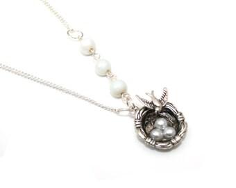 Birds Nest Necklace, Bird Necklace, Vintage Style