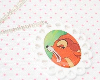 SALE Bambi Necklace, Bambi Illustration Necklace OOAK, Woodland, Animal Necklace