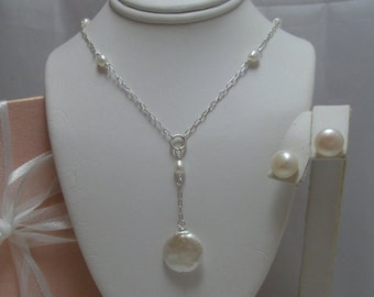 Bridal Coin Pearl Lariat necklace and earrings set (Pendant Drop)