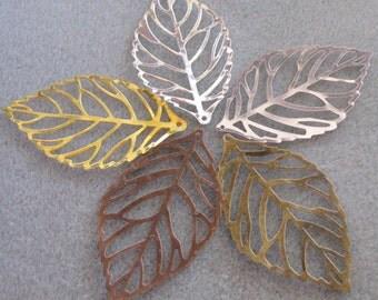 Leaf Filigree Mix You Choose Finish 54mm x 31mm Filigree Leaves 517