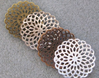 Antique Bronze Copper Silver Round Filigree Coins 20mm Mix and Match 518