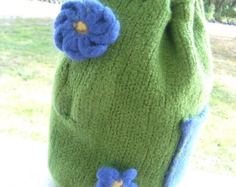 Spring Flowers on a Knit Felted Bag Clearance Sale